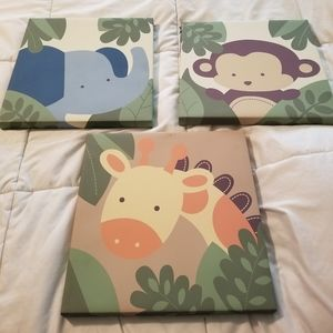 Three child's room canvas wrapped wall art